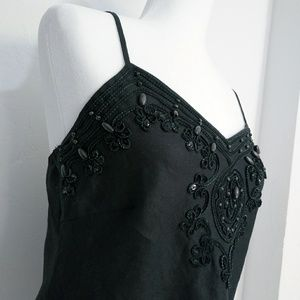 Carole little black linen tank cami embroidery wit